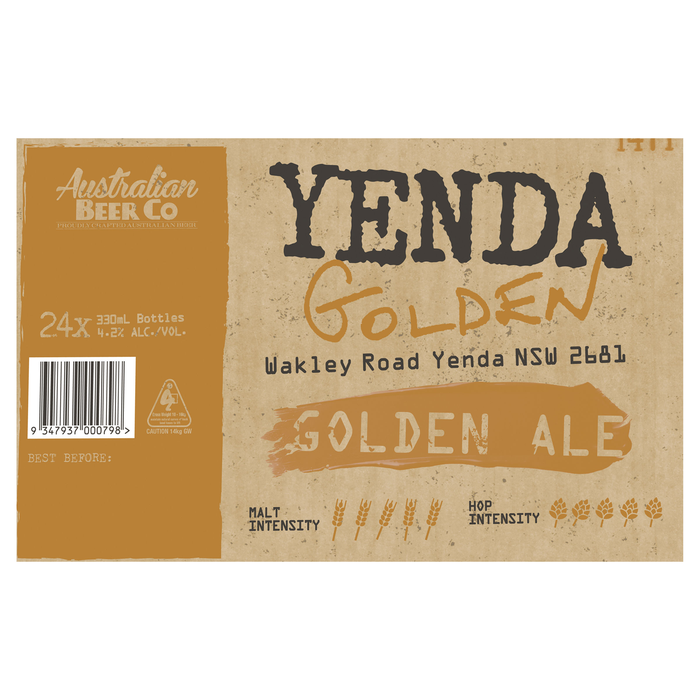 AUSTRALIAN BEER COMPANY YENDA GOLDEN ALE